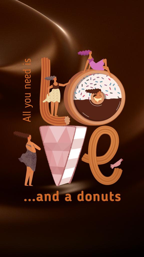 Girls in love with sweet Donuts — Create a Design