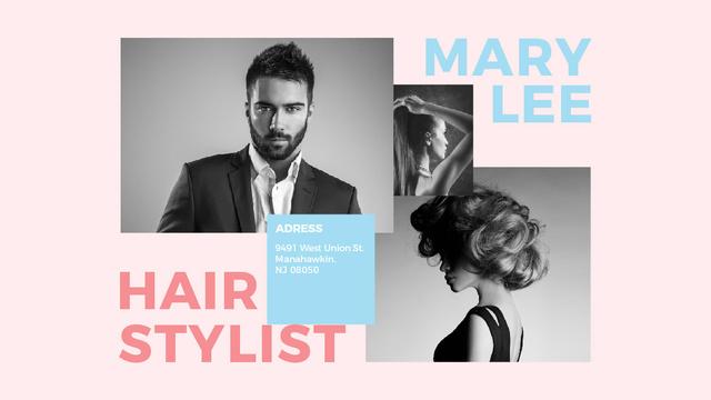 Szablon projektu Hair Salon Ad Woman and Man with modern hairstyles Title