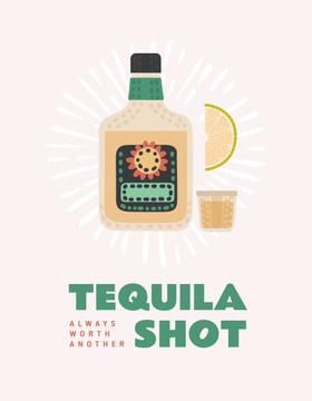 Tequila bottle with shot and lime
