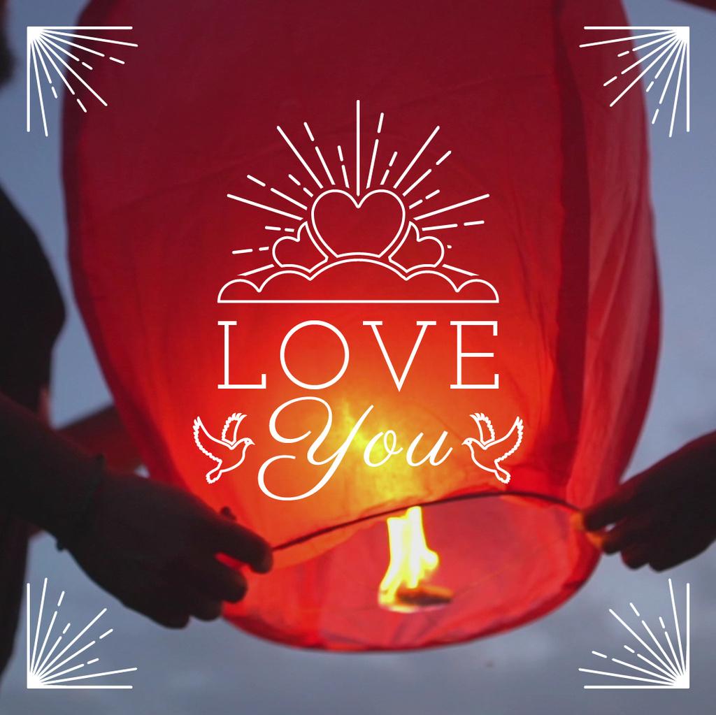 Loving Couple lighting sky Lantern on Valentine's Day — Modelo de projeto