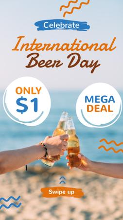 Beer Day Sale People Clinking Bottles at the Beach Instagram Story Modelo de Design