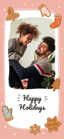 Modèle de visuel Dad and daughter celebrating Winter Holidays - Snapchat Moment Filter