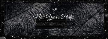 New year Party invitation with feathers and confetti