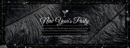 Plantilla de diseño de New year Party invitation with feathers and confetti Facebook Video cover