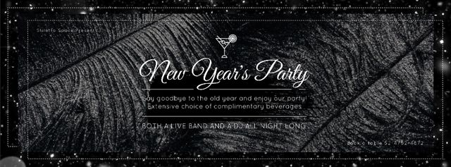 Ontwerpsjabloon van Facebook Video cover van New year Party invitation with feathers and confetti
