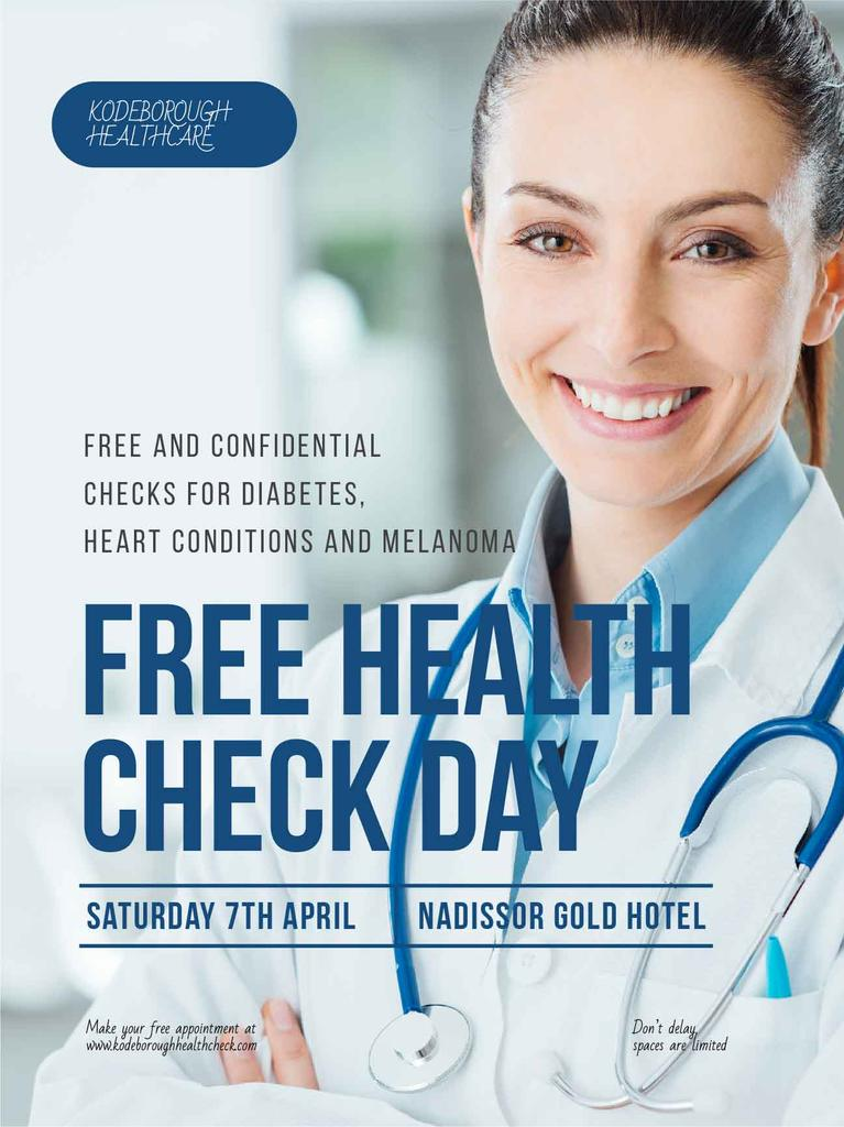 Free health check offer with smiling Doctor — Создать дизайн