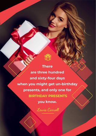 Citation about Birthday Presents Poster Modelo de Design