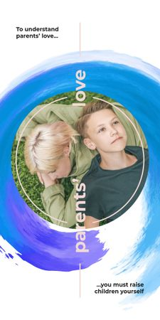 Ontwerpsjabloon van Graphic van Mother and son lying on grass