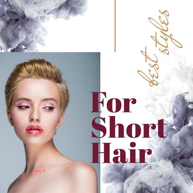 Modèle de visuel Young attractive woman with Stylish Haircut - Instagram