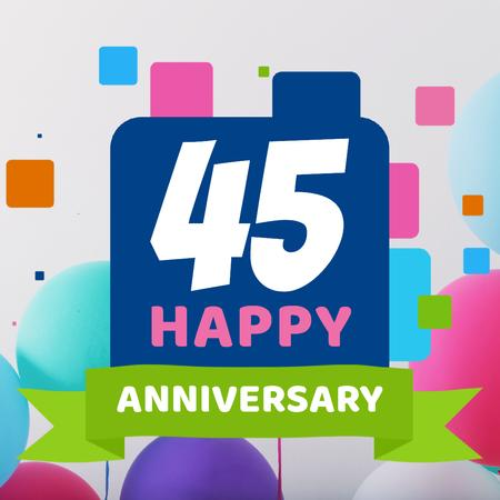 Plantilla de diseño de Anniversary celebration with Colourful Squares Animated Post