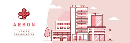 Modern hospital building Twitter Modelo de Design