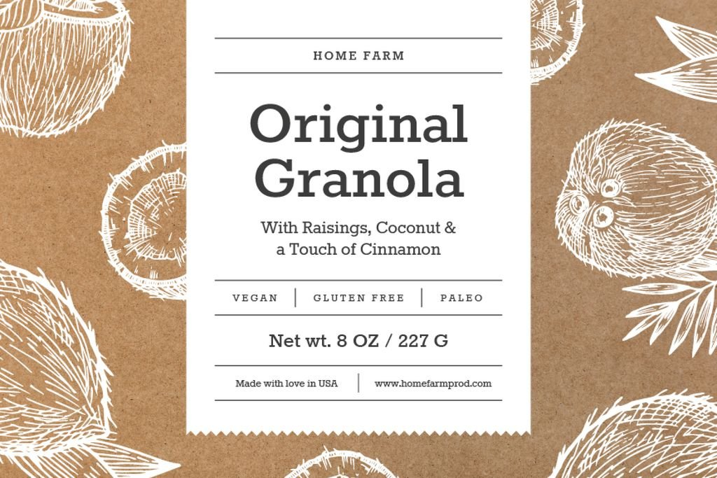 Granola packaging with coconuts in brown — Create a Design