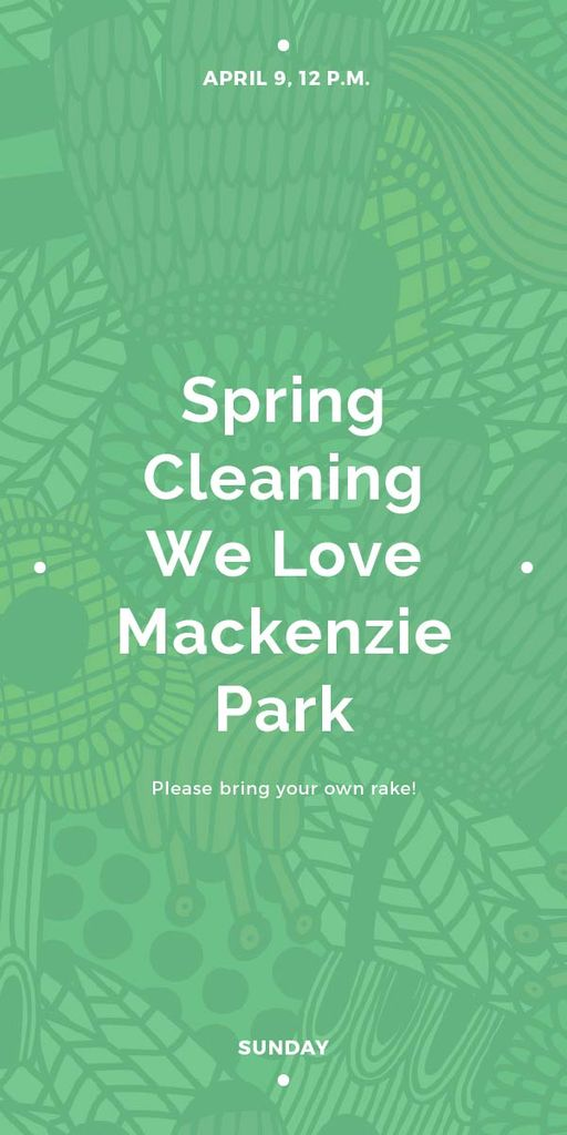 Spring Cleaning Event Invitation Green Floral Texture — Create a Design
