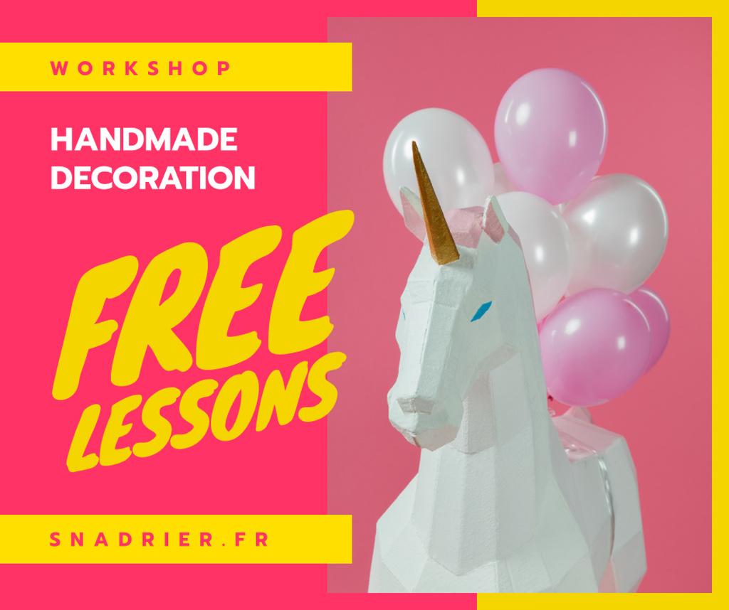 Plantilla de diseño de Party Decor ideas Unicorn and Balloons Facebook