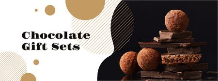 Plantilla de diseño de Dark sweet Chocolate pieces Facebook cover