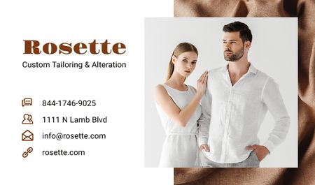 Plantilla de diseño de Atelier Ad with Couple in White Clothes Business card