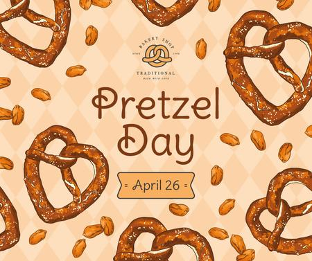 Delicious baked treats for Pretzel day Facebook – шаблон для дизайна