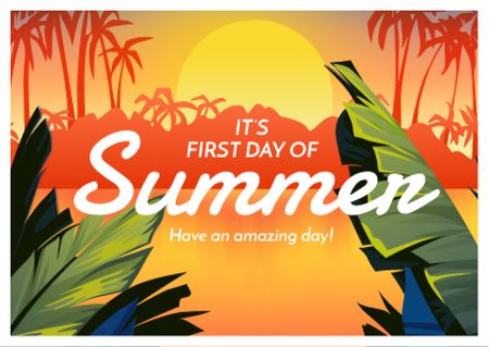 First day of Summer with Tropical Landscape Postcard Modelo de Design