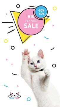 Cat Food Offer Jumping White Cat | Vertical Video Template