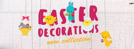 Modèle de visuel Easter decorations with animals - Facebook Video cover