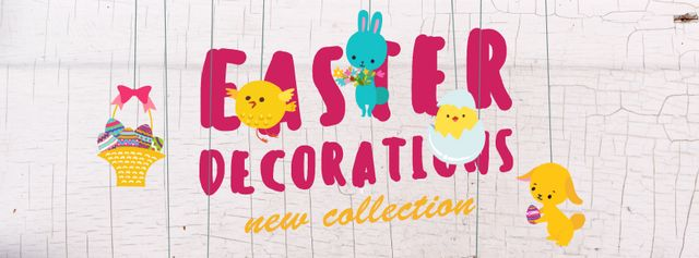 Plantilla de diseño de Easter decorations with animals Facebook Video cover