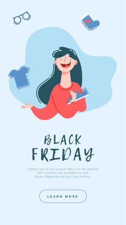 Ontwerpsjabloon van Instagram Video Story van Black Friday Announcement Woman Juggling