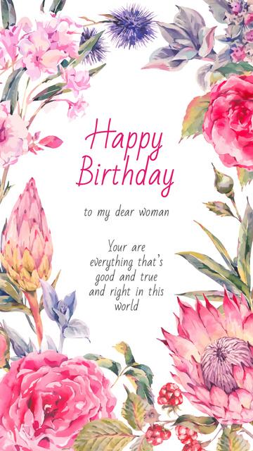 Birthday Greeting in Frame with bright flowers Instagram Story Modelo de Design