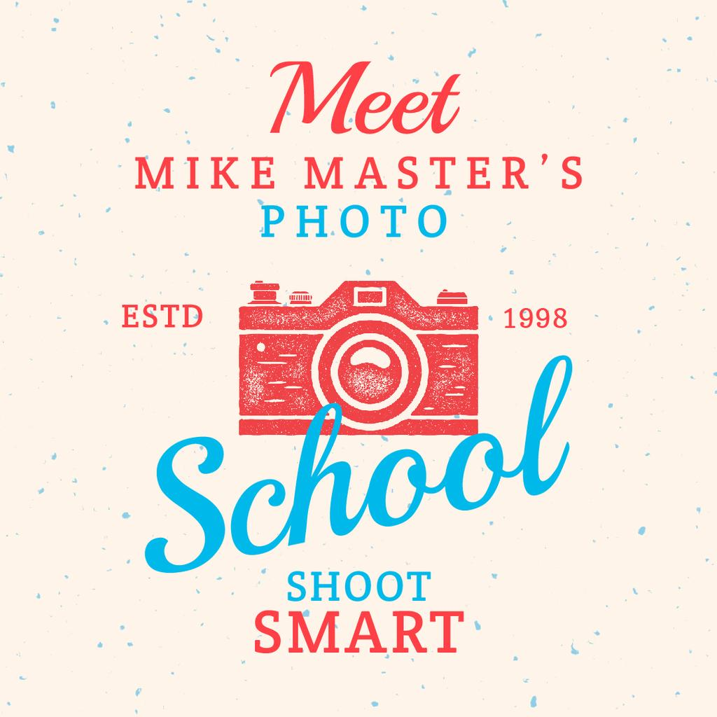 Photo School Ad with Stamp of Camera — Create a Design