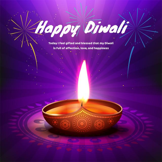 Happy Diwali celebration with lamp Instagram AD – шаблон для дизайну