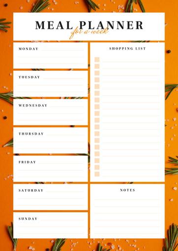 Weekly Meal Planner In Orange Frame