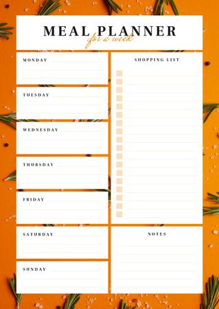 Weekly Meal Planner in Orange Frame Schedule Plannerデザインテンプレート