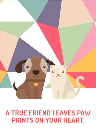 Pets Quote Cute Dog and Cat Flayer Design Template