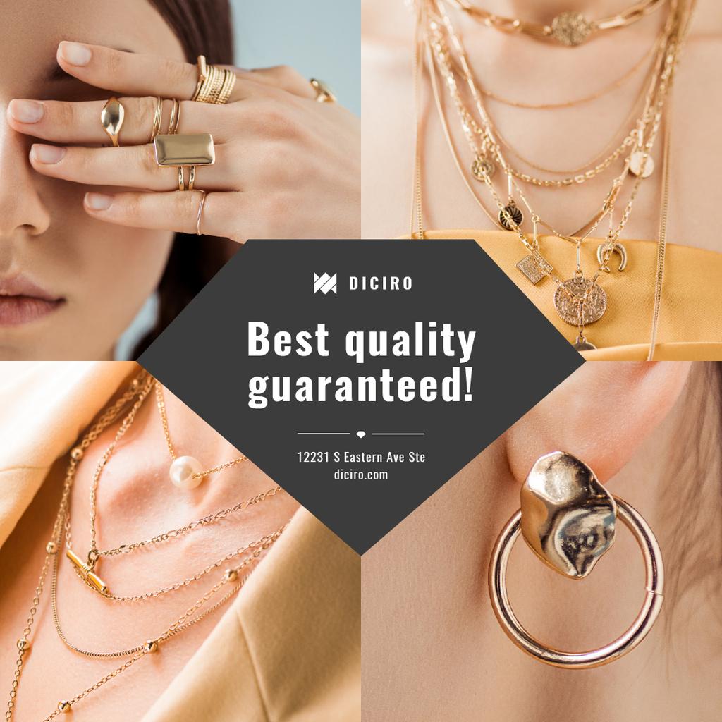 Jewelry Sale Woman in Golden Accessories — ein Design erstellen