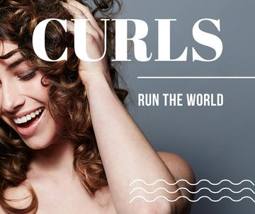 Curls run the world banner with young woman