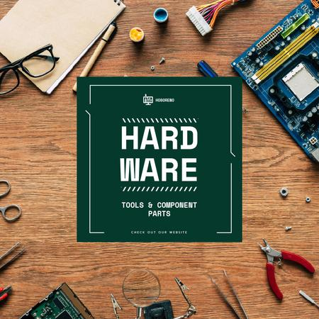 Hardware repair services with circuit board Animated Postデザインテンプレート