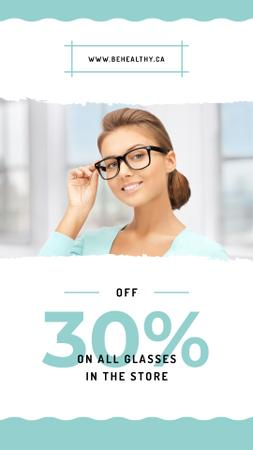 Modèle de visuel Sale Ad Woman wearing eyeglasses - Instagram Story