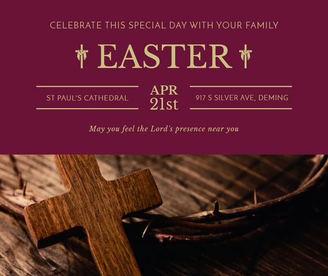 Easter Greeting with Christian Cross Facebook Modelo de Design