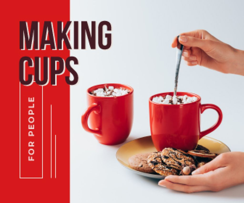 Woman Cooking Hot Cocoa with Cookies in Red | Large Rectangle Template — Create a Design