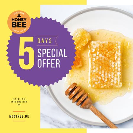 Sweet Honey Offer Combs and Dipper Instagram Tasarım Şablonu