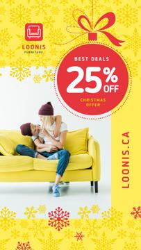 Furniture Christmas Sale Family on Yellow Couch