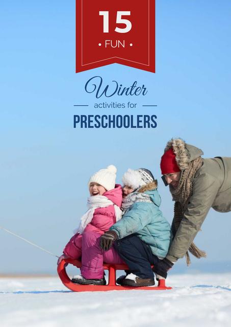 Plantilla de diseño de Father with kids having fun in winter Poster
