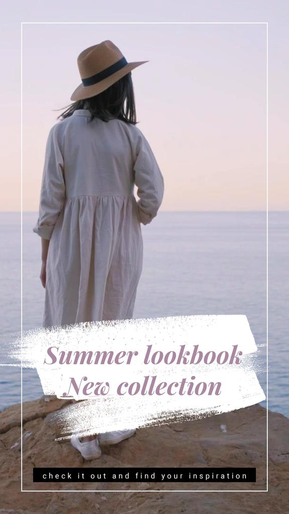 Summer Offer Woman on Cliff at Seashore | Vertical Video Template — Crear un diseño