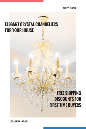 Elegant Crystal Chandelier Offer in White Tumblr Design Template