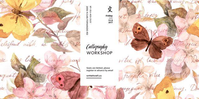 Calligraphy Workshop Announcement Watercolor Flowers Image Modelo de Design