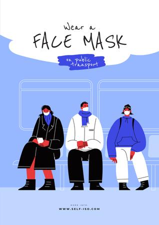 Plantilla de diseño de People wearing Masks in Public Transport Poster