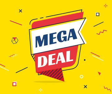 Mega Deal Offer on Speech Bubble in Yellow | Facebook Post Template
