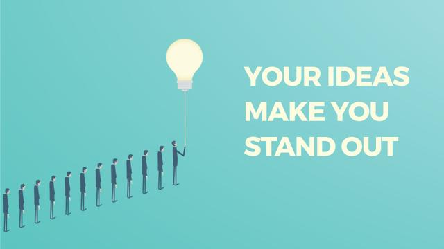 Businessman Flying from Queue on Light Bulb Full HD video Design Template
