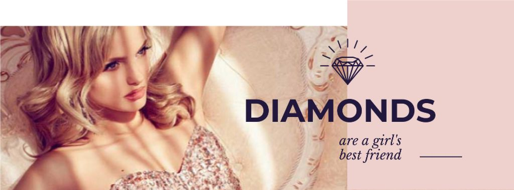 Jewelry Ad with Woman in shiny dress Facebook cover Tasarım Şablonu