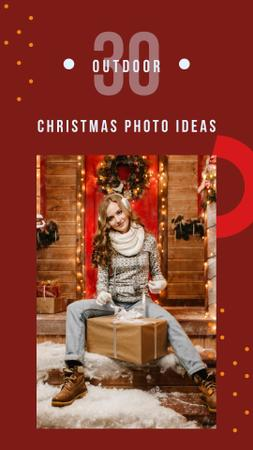 Template di design Woman with Christmas gift Instagram Story