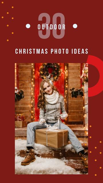 Plantilla de diseño de Woman with Christmas gift Instagram Story